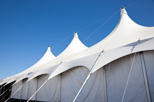 Large White Marquee Tent with clear blue sky